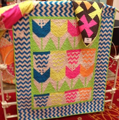 Neon fabric quilt